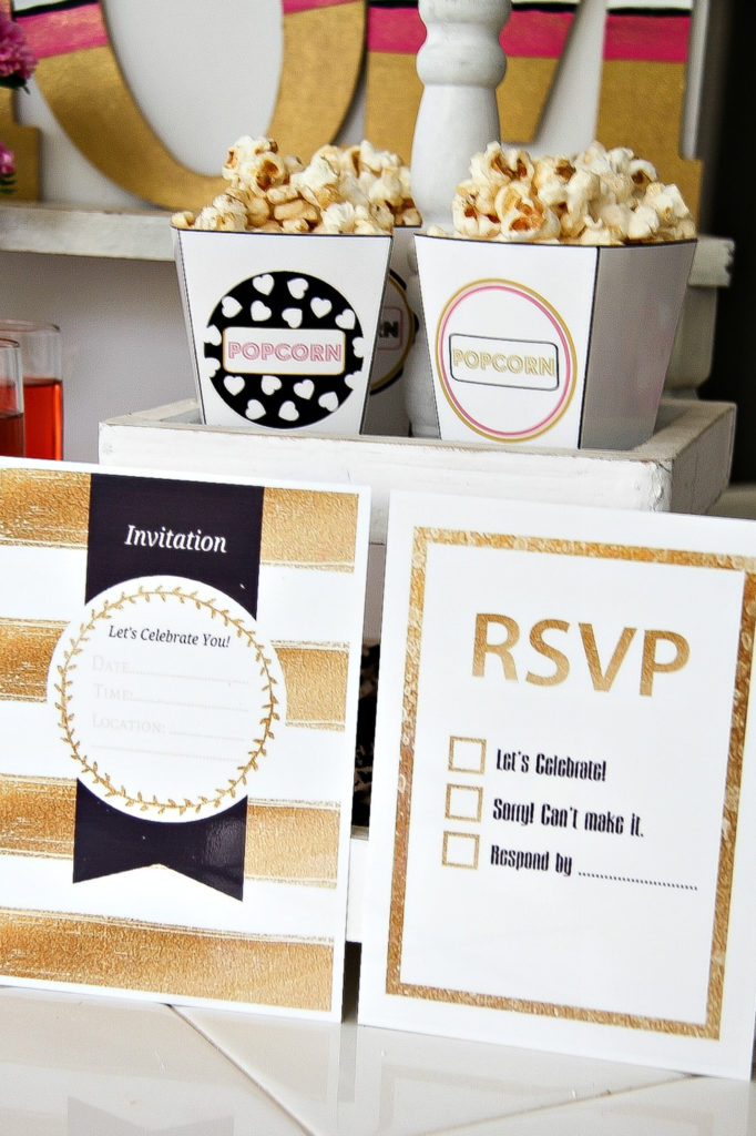 black gold and white party invitations and rsvp cards