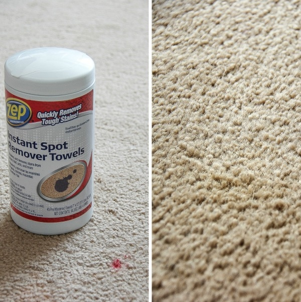 before and after removing a red stain from carpet with Zep towels