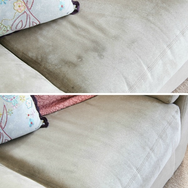 before and after removing stains from a couch