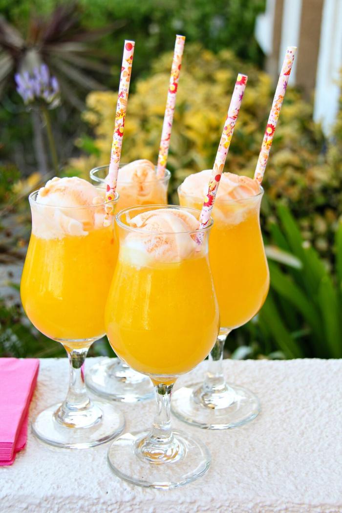 orange mocktail float summer drink for kids with icecream