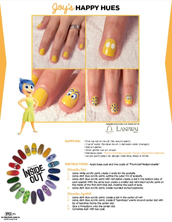 yellow and blue nail art designs inspired by Inside Out movie character