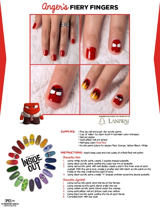 red fire nail designs inspired by Inside Out movie character