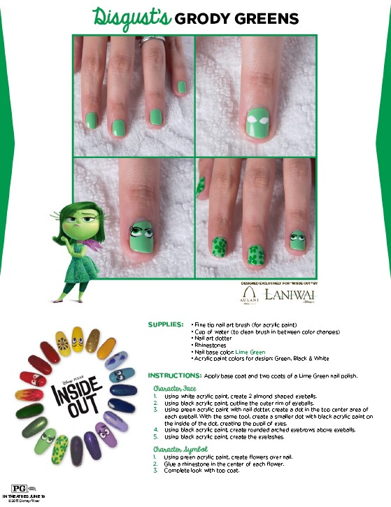 green face nail art design inspired by Inside Out movie character