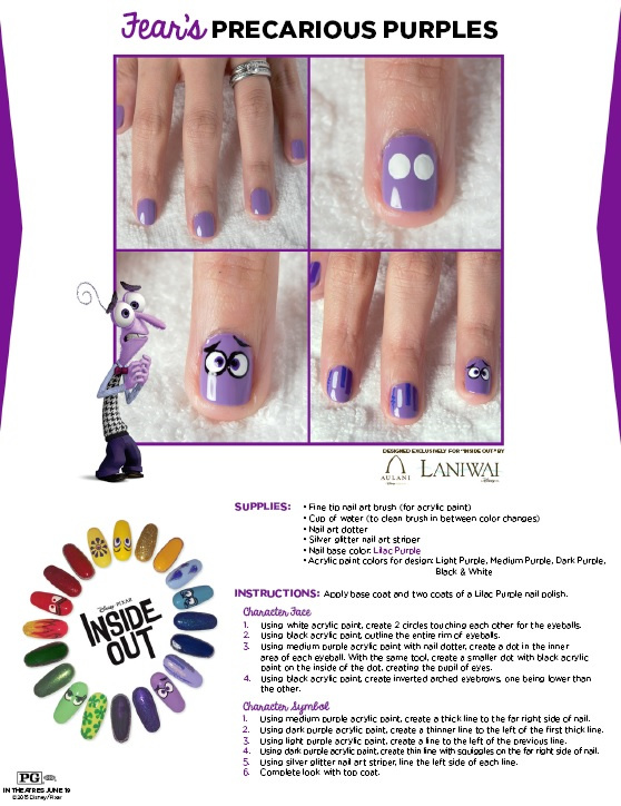 purple face nail art design inspired by Inside Out movie character