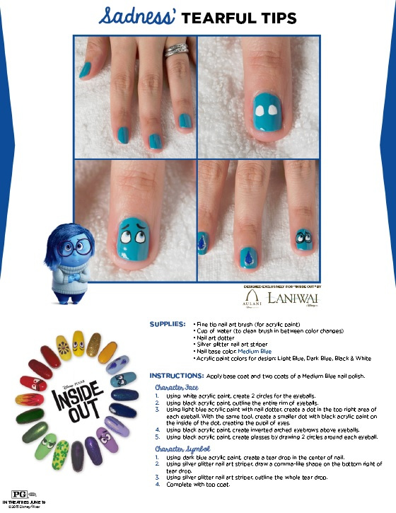 blue face nail art design inspired by Inside Out movie character