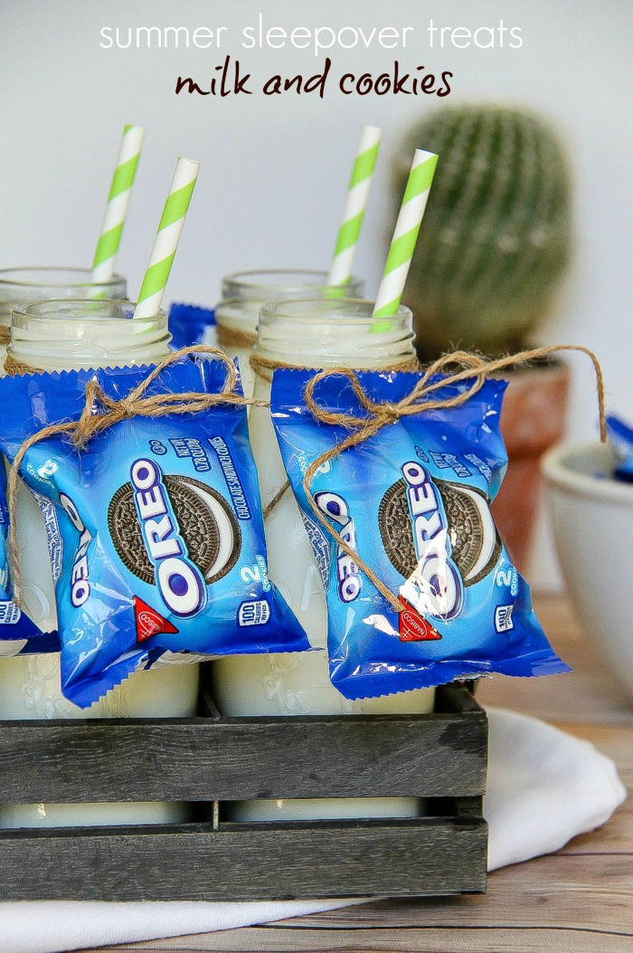 individual bags of Oreo cookies attached to milk bottles with string