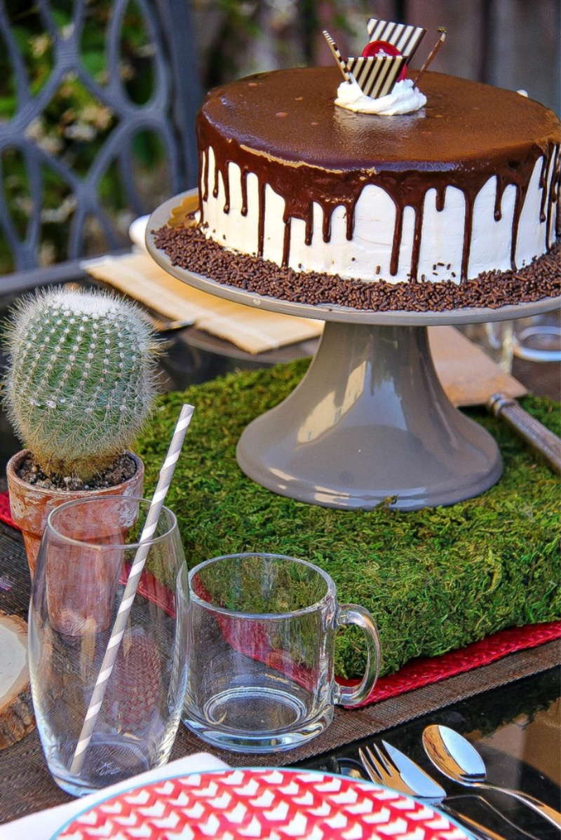 ice cream cake on a cake stand in the center of a table