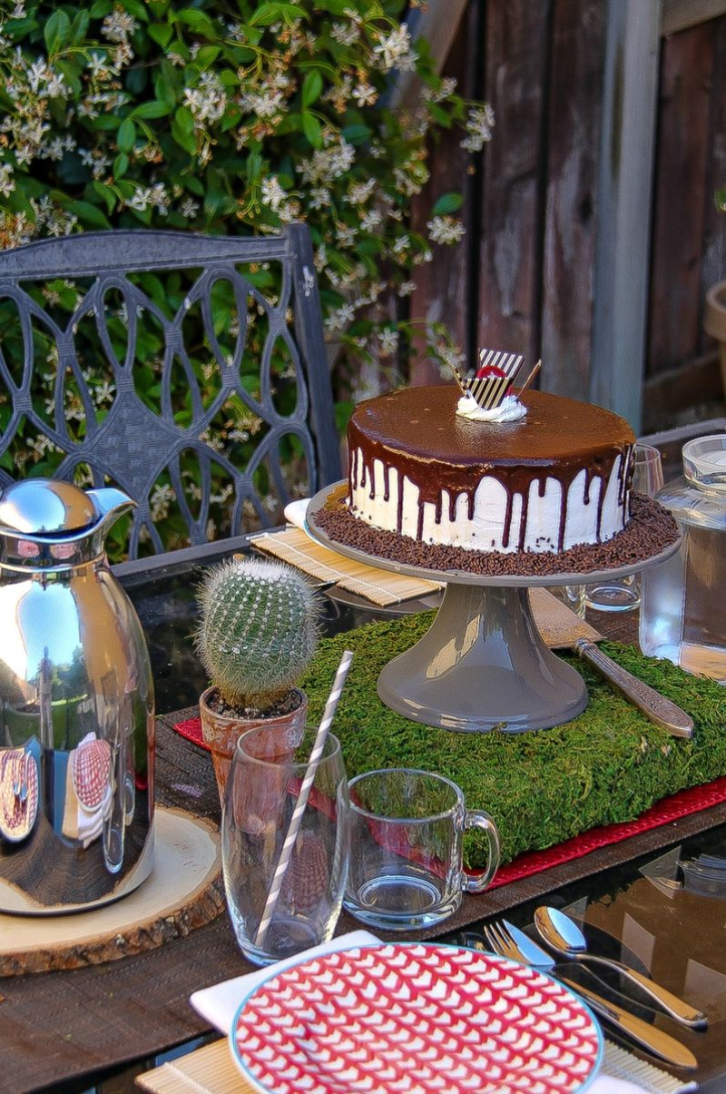 An outdoor table setting with a cake on a stand, glasses, and a carafe
