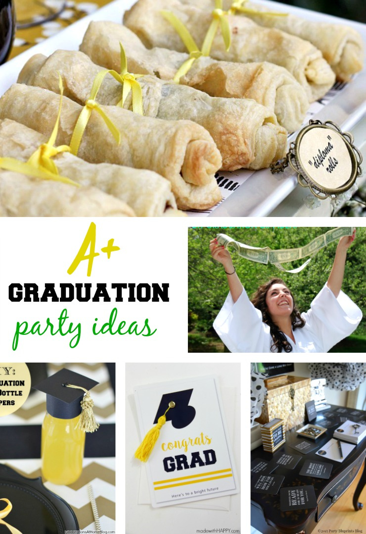 a collage of graduation party ideas