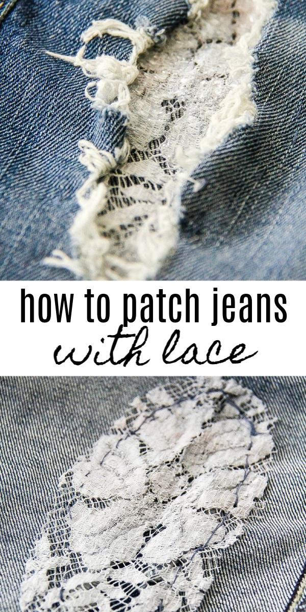 patch women's jeans Pinterest image