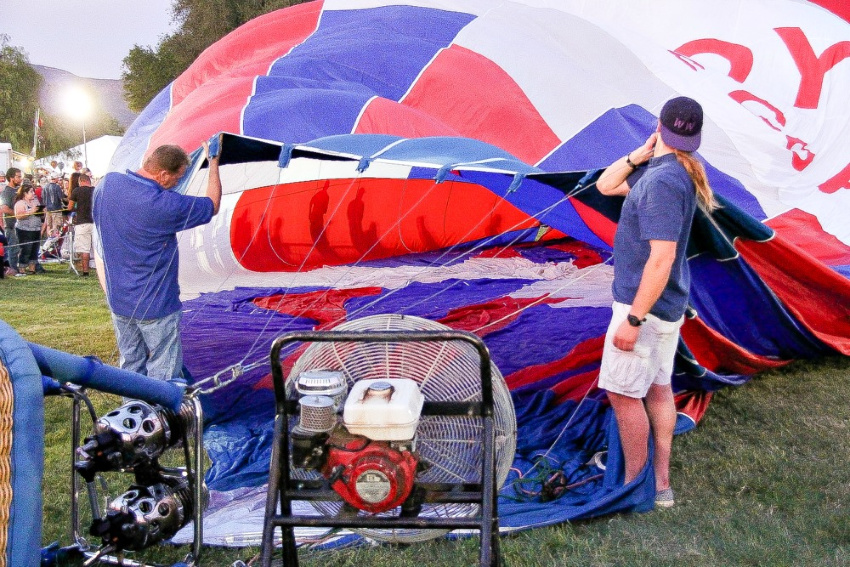 a hot air balloon being inflated
