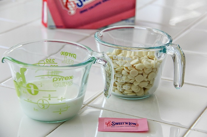 sweet 'n low, milk, and white chocolate chips