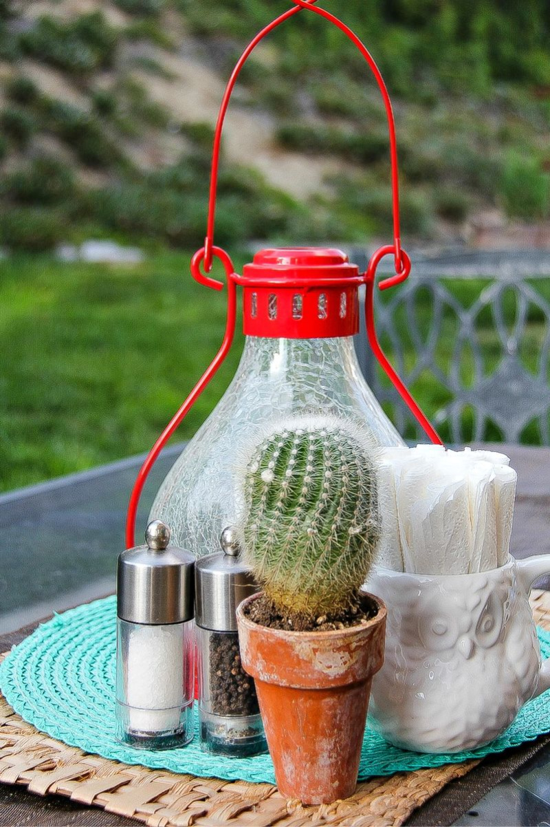 items on an outdoor table for entertaining