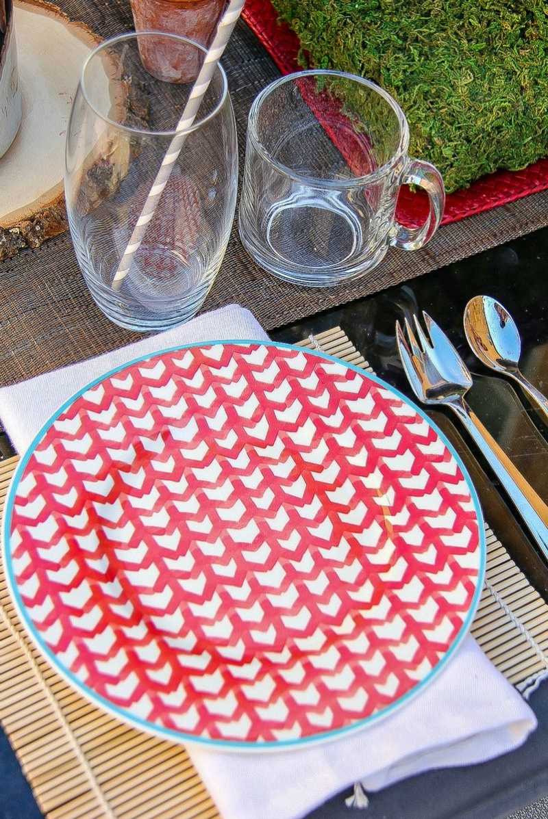 red and white plates with a blue rim
