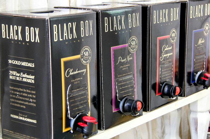 four different black box wines