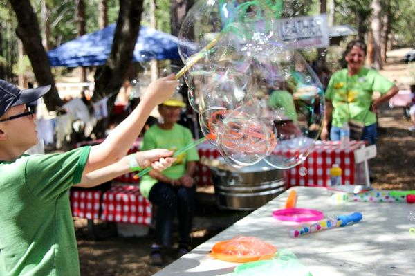 boy using a bubble maker