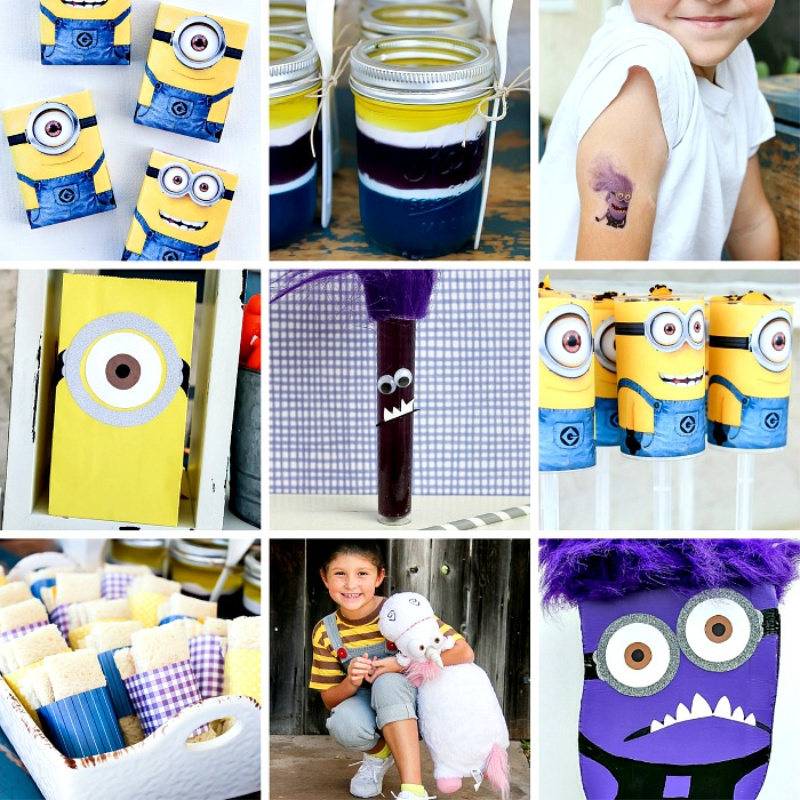 a collage of despicable me minion party ideas