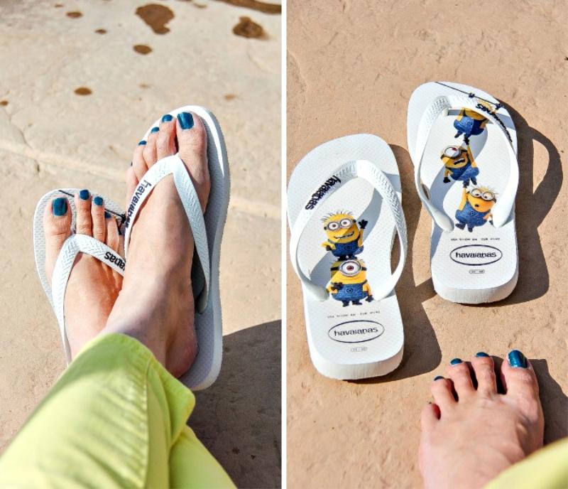 lady wearing minions flip flops