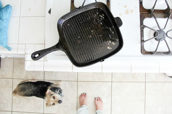 a person standing by the stove in front of a grill pan and a dog begging at their feet