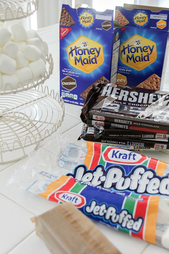 honey maid graham crackers, jet puffed marshmallows and hersey's chocolate bars to make s'mores