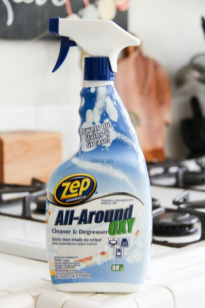 Zep degreaser on a kitchen counter