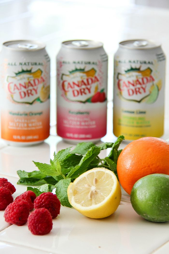 cans of Canada Dry sparkling in raspberry, lemon-lime, and orange mandarin with fresh fruit