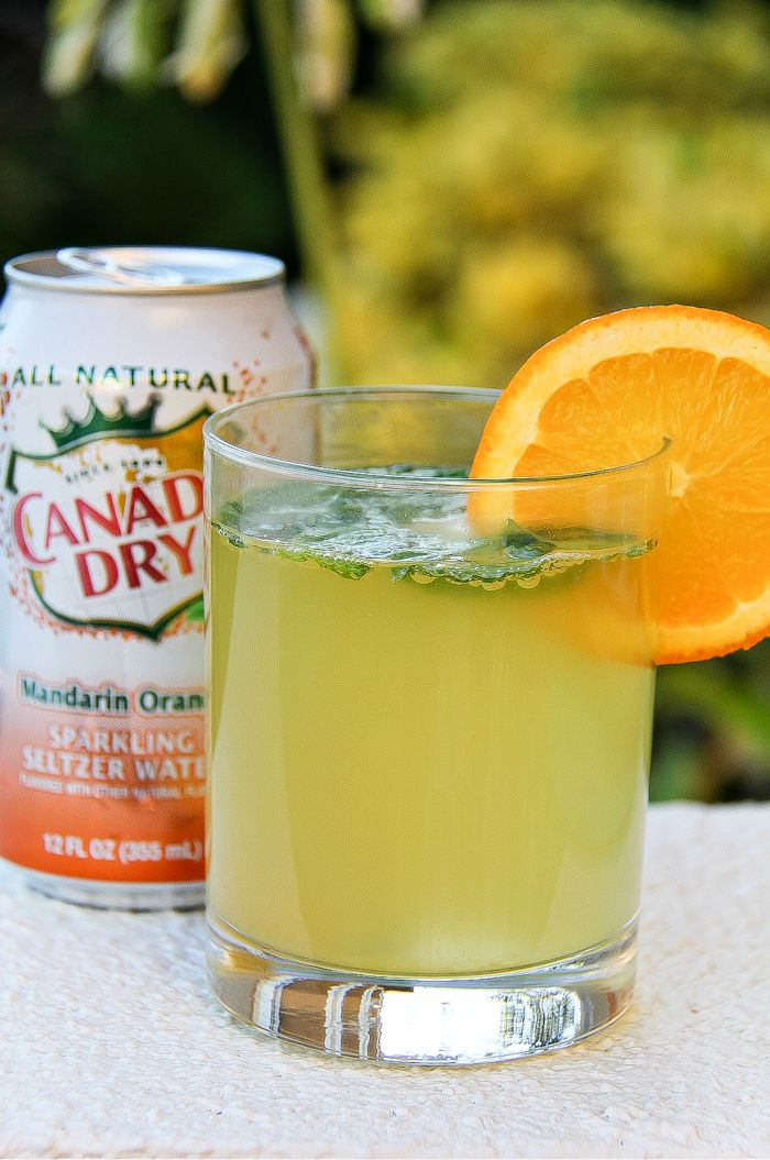 canada dry orange with a cocktail garnished with an orange slice