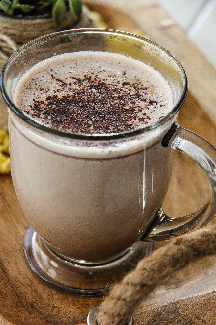 hot chocolate in a glass muf