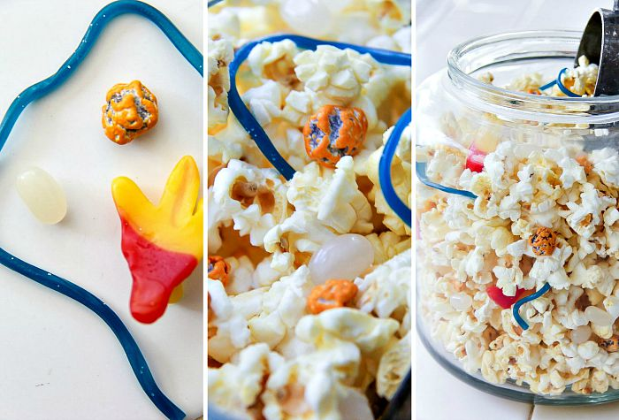 popcorn mix with candy inspired by the fantastic 4
