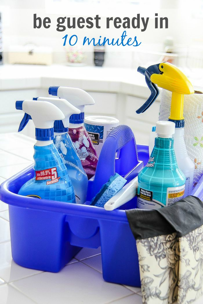 a blue cleaning tub filled with Zep cleaning products
