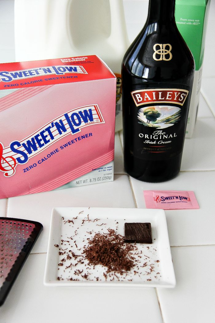 baileys and other ingredients to make hot chocolate