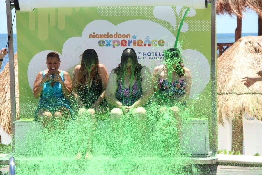 women being slimed at nickelodeon resort