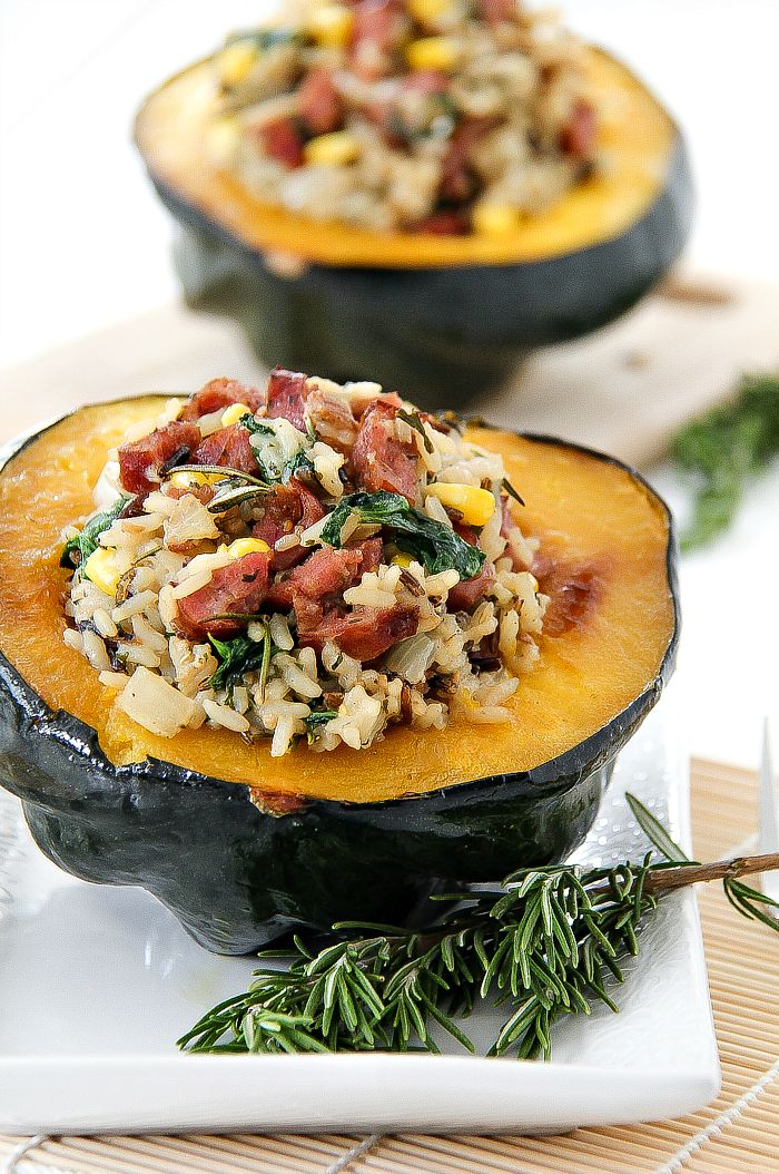 acorn squash stuffed with rice and sausage