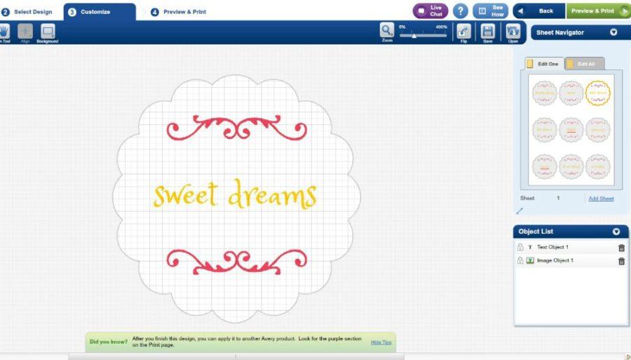screenshot of sweet dreams labels on avery