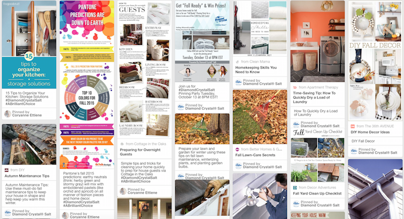 screenshot of pinterest boards for fall organizing