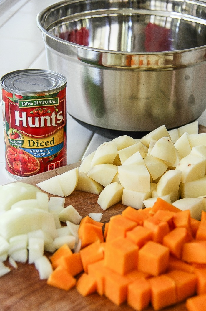 diced potato and butternut squash with hunts diced tomatoes