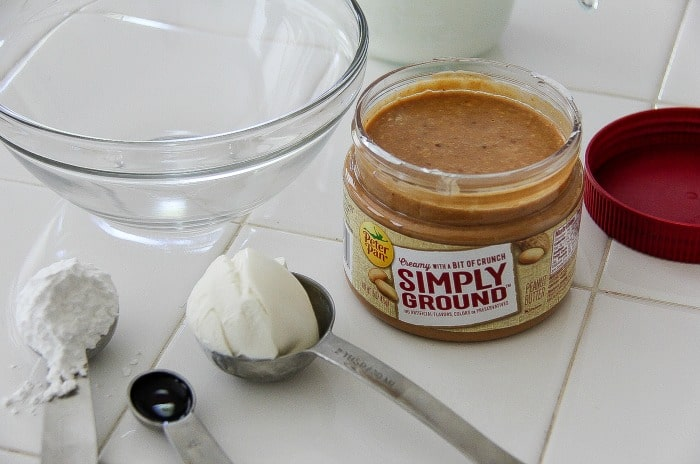 ingredients including peanut butter laid out to make a recipe