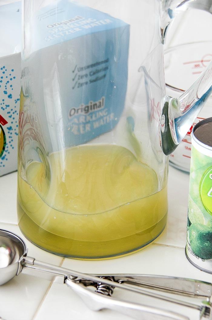 jug with frozen limeade in it