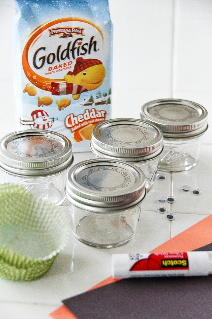 empty canning jars and goldfish crackers