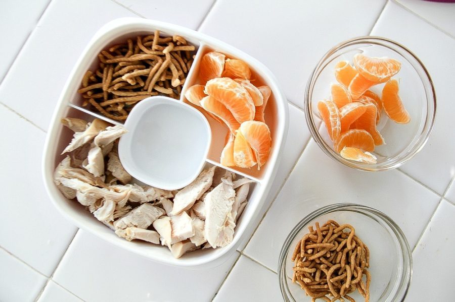 chicken, mandarins, and crunchy noodles in a lunch box