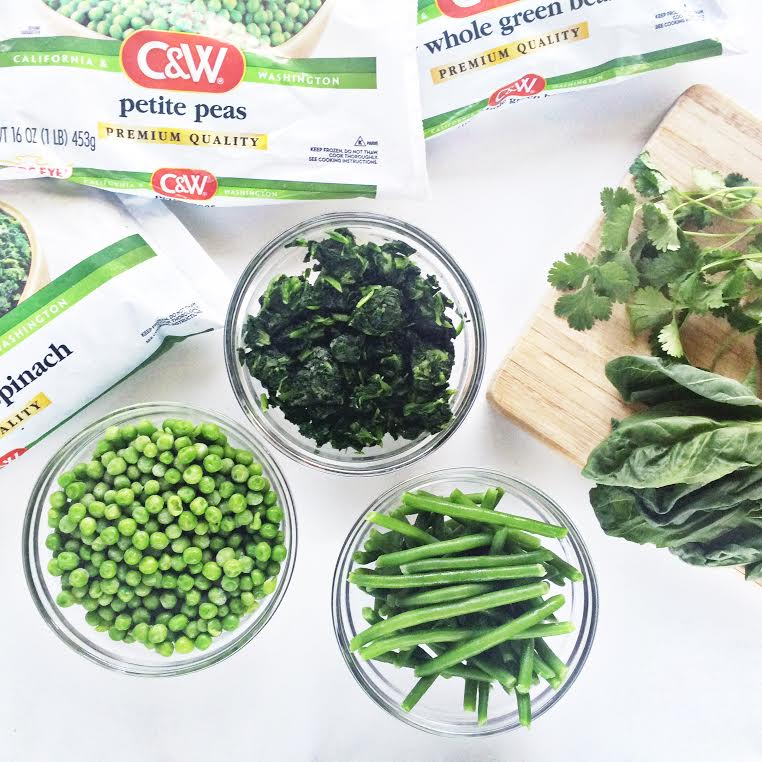 frozen green vegetables in small dishes for cooking