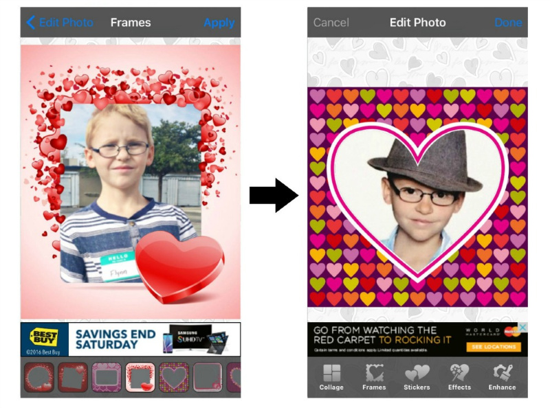 screenshot of different hearts available on love collage app