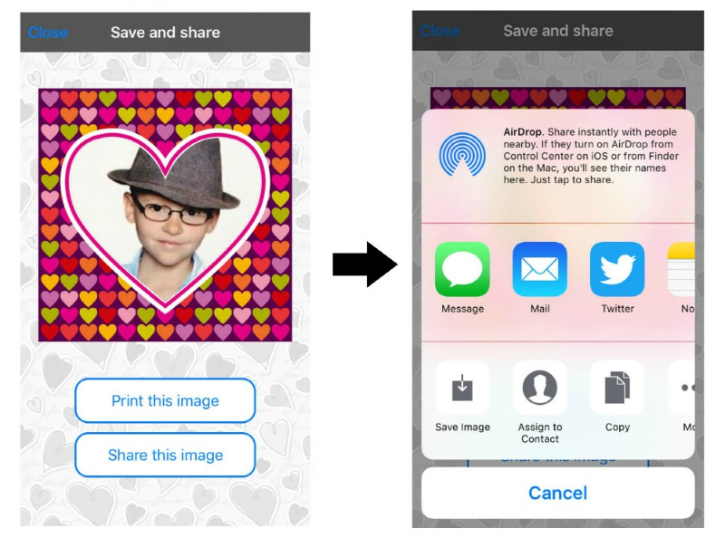 screenshot of instructions for saving projects on the love collage app