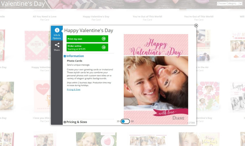 screenshot of valentines day card on hp photo creations