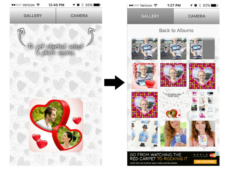 instructions on how to upload photos to the love collage app