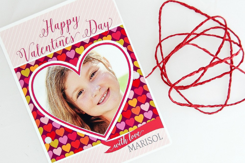 valentines day card with string