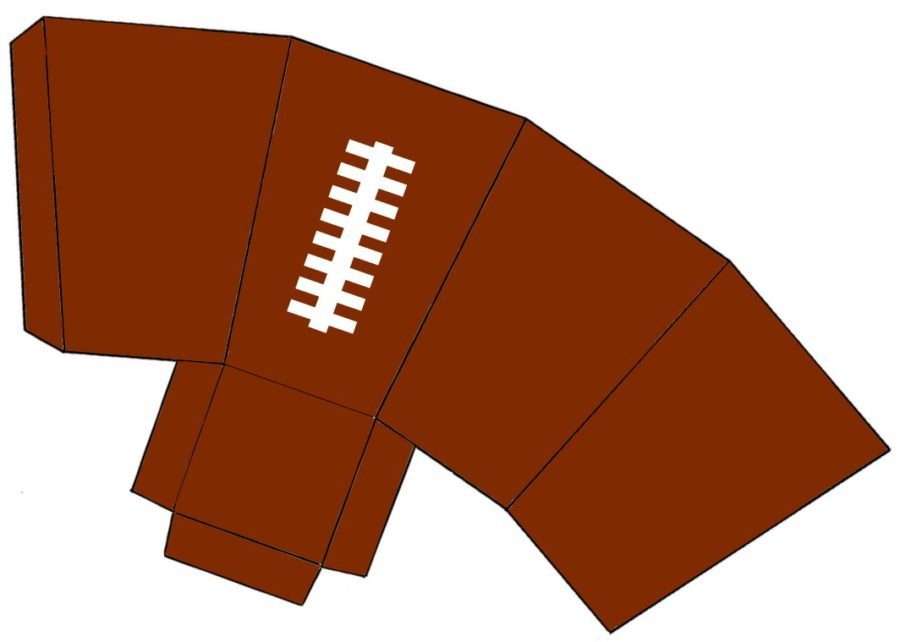 printable brown and white football snack box template