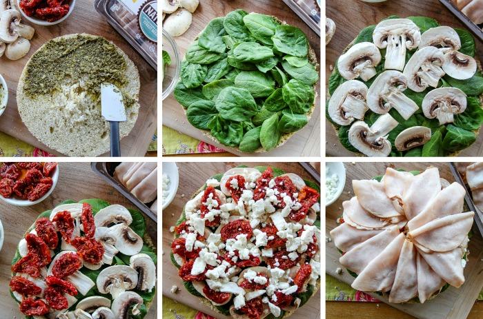 ingredients used to make a turkey pesto focaccia sandwich