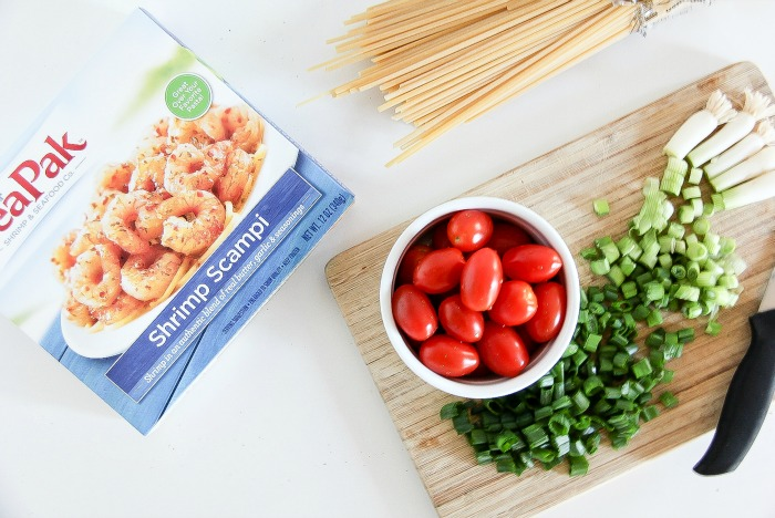 sea pak shrimp and ingredients to make shrimp scampi