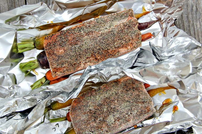 salmon and rainbow carrot foil packets